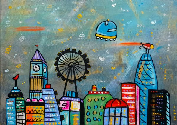 Vibrant Grey London 40 x 30 cm, original painting